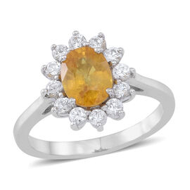 Yellow Sapphire (Ovl 1.75 Ct), White Sapphire Ring in Rhodium Plated Sterling Silver 2.500 Ct.