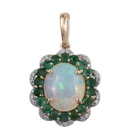 9K Y Gold Ethiopian Welo Opal (Ovl 2.50 Ct), Brazilian Emerald and Diamond Pendant 3.750 Ct.