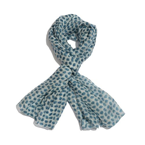 100% Mulberry Silk Blue and White Colour Printed Scarf (Size 180x100 Cm)