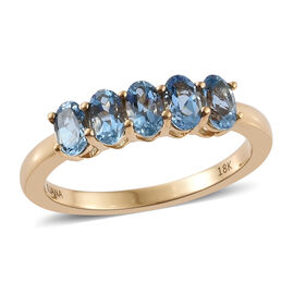 ILIANA 18K Yellow Gold 1.15 Carat AAA Santa Maria Aquamarine  5 Stone Ring