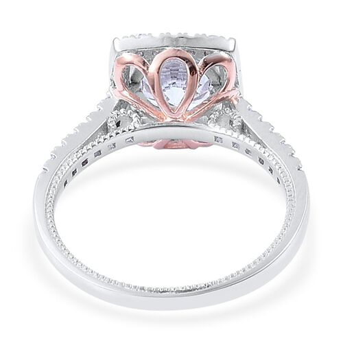 AAA Simulated White Diamond Ring in Rose Gold and Rhodium Plated Sterling Silver