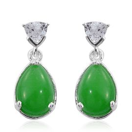 Green Jade (Pear), White Topaz Earrings (with Push Back) in Sterling Silver 5.750 Ct.