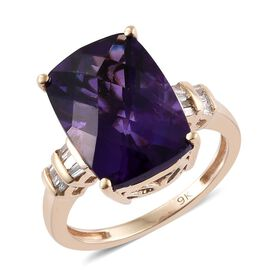 9K Y Gold AAA Zambian Amethyst (Cush 6.40 Ct), Diamond Ring 6.500 Ct.