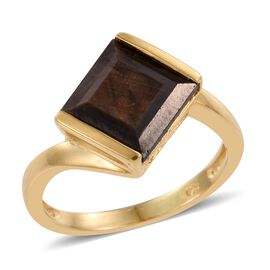 Natural Zawadi Golden Sheen Sapphire (Sqr) Solitaire Ring in 14K Gold Overlay Sterling Silver 4.750 Ct.