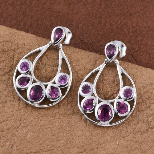 Rare Mozambique Grape Colour Garnet (Ovl) Earrings (with Push Back) in Platinum Overlay Sterling Silver 2.750 Ct.