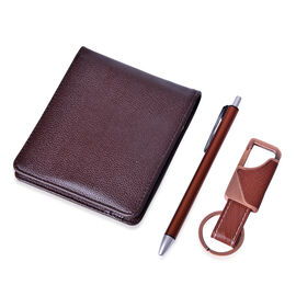 Brown Colour Leather Wallet (Size 10x11.5 Cm), Brown Pen with Blue Refill and Leather Key Chain in Silver Tone