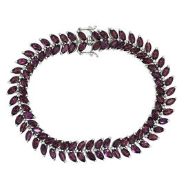 Rhodolite Garnet (Mrq) Bracelet in Rhodium Plated Sterling Silver (Size 7) 24.000 Ct.