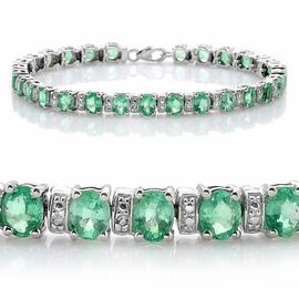 Close Out Deal Boyaca Colombian Emerald (Ovl), Diamond Bracelet (Size 7.5) in Platinum Overlay Sterling Silver 9.510 Ct.