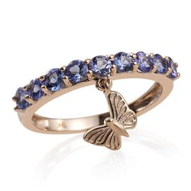 9K Yellow Gold 1 Carat Tanzanite Round Butterfly Charm Ring.