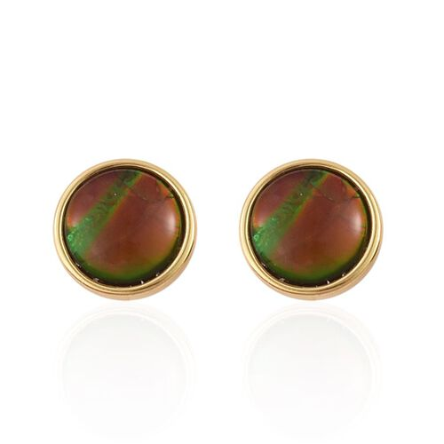 Canadian Ammolite (Rnd) Stud Earrings in Yellow Gold Overlay Sterling Silver 2.400 Ct.
