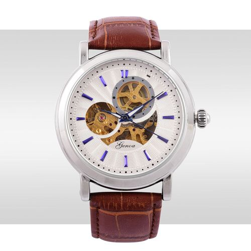 GENOA Automatic Skeleton White Dial Water Resistant Watch in Silver Tone with Brown Colour Strap