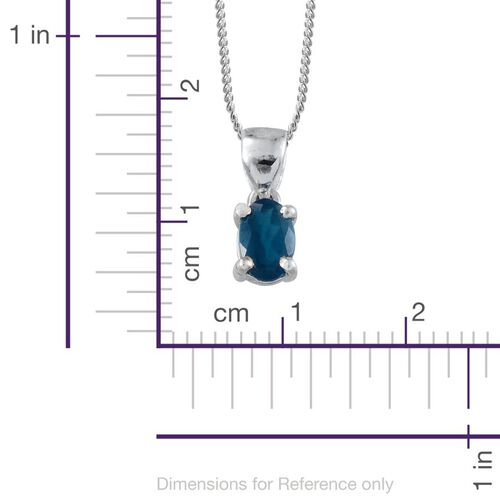 Malgache Neon Apatite (Ovl) Solitaire Pendant With Chain in Platinum Overlay Sterling Silver 0.500 Ct.