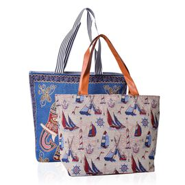 Set of 2 - Multi Colour Elephant Pattern Blue Colour Large Handbag (Size 43x39x10.5 Cm) and Multi Colour Sailling Pattern Beige Colour Small Handbag with External Zipper Pocket (Size 43x33x11.5 Cm)
