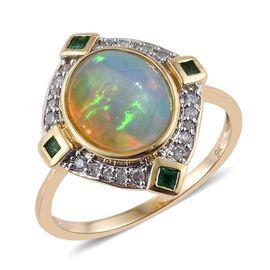 9K Y Gold AAA Wegeltena Welo Opal (Ovl 3.05 Ct), Kagem Zambian Emerald and Diamond Ring 3.500 Ct.