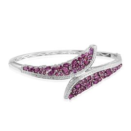 Rare Mozambique Grape Colour Garnet (Rnd) Bangle (Size 7.5) in Platinum Overlay Sterling Silver 7.000 Ct.