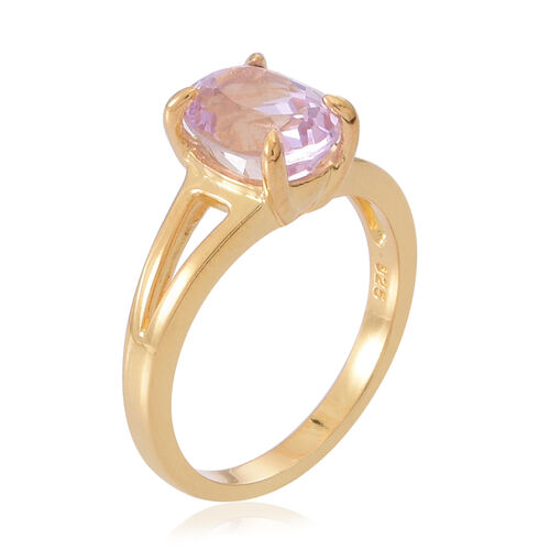AAA Urucum Kunzite (Ovl) Solitaire Ring in 14K Gold Overlay Sterling Silver 2.500 Ct.