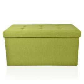 Green Colour Linen Foldable Large Storage Ottoman with Padded Seat  (Size 75x38x38 Cm)