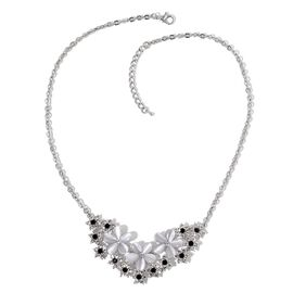 Simulated White Cats Eye, White and Black Austrian Crystal Floral Necklace (Size 20) in Silver Tone