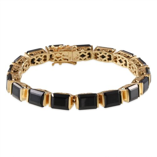 Boi Ploi Black Spinel (Oct) Bracelet in 14K Gold Overlay Sterling Silver (Size 7) 55.000 Ct.