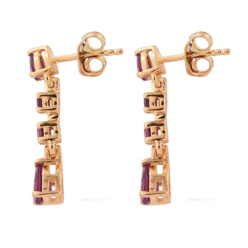 Rare Mozambique Grape Colour Garnet (Pear) Dangling Earrings (with Push Back) in 14K Gold Overlay Sterling Silver 1.750 Ct.
