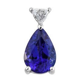 RHAPSODY 950 Platinum 1.58 Carat AAAA Tanzanite Pear Pendant, Trillion Diamond VS E-F.