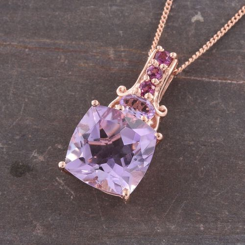 Rose De France Amethyst (Cush 5.20 Ct), Rhodolite Garnet Pendant With Chain in Rose Gold Overlay Sterling Silver 5.500 Ct.
