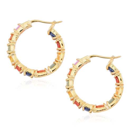 AAA Rainbow Sapphire Hoop Earrings (with Clasp) in 14K Gold Overlay Sterling Silver 5.500 Ct.