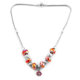 Red Glass Beads Necklace (Size 18) in Silver Tone