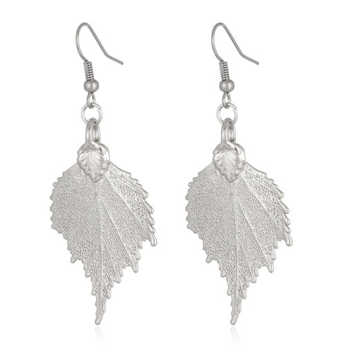 Tucson Collection Birch Leaf Hook Earrings Dipped in Platinum (Size 17x36 mm)