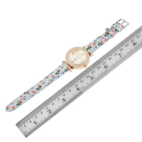 STRADA Japanese Movement White Austrian Crystal Studded Watch in Gold Tone with Blue Colour Floral Strap