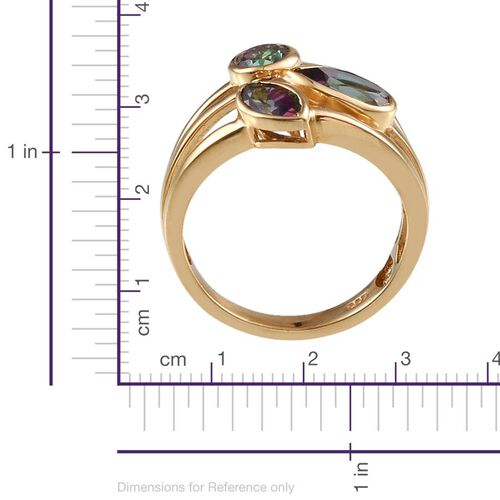 Northern Lights Mystic Topaz (Pear 1.35 Ct) Ring in 14K Gold Overlay Sterling Silver 2.700 Ct.