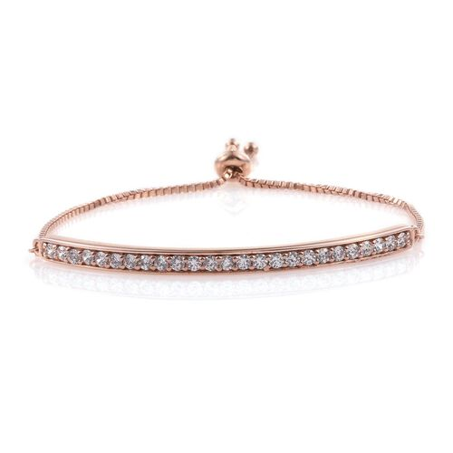 J Francis - Rose Gold Overlay Sterling Silver (Rnd) Adjustable Bracelet (Size 7 to 7.5) Made with SWAROVSKI ZIRCONIA