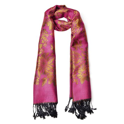 Fuchsia and Copper Colour Knitted Floral Pattern Scarf with Tassels (Size 170X70 Cm)