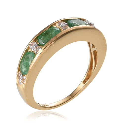 Kagem Zambian Emerald (Ovl), White Topaz Half Eternity Ring in 14K Gold Overlay Sterling Silver 1.750 Ct.