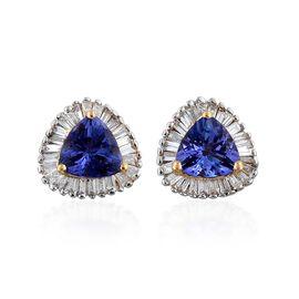ILIANA 18K Yellow Gold 1.25 Carat AAA Tanzanite Stud Earrings With Diamond SI G-H