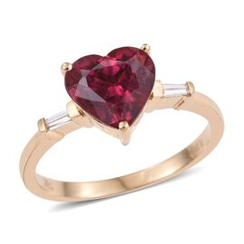 ILIANA 18K Yellow Gold 2.75 Carat AAA Rubelite And Diamond (SI/G-H) Heart Ring