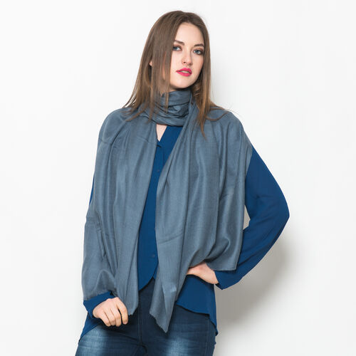 NEW FOR SEASON - 88% Merino Wool and 12% Silk Dark Grey Colour Scarf (Size 200x70 Cm)