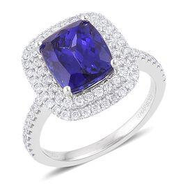 RHAPSODY 950 Platinum AAAA Tanzanite (Cush 5.00 Ct), Diamond (VS/E-F) Ring 5.750 Ct.