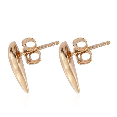 14K Gold Overlay Sterling Silver Angel Wing Stud Earrings (with Push Back), Silver Wt. 2.39 Gms