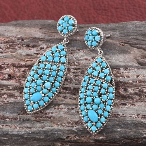 Limited Edition-Arizona Sleeping Beauty Turquoise (Rnd) Earrings (with Push Back) in Platinum Overlay Sterling Silver 4.750 Ct. 98 Sleeping Beauty Stones