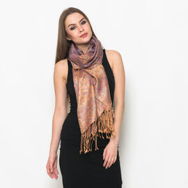 100% Superfine Silk Red and Multi Colour Paisley Pattern Golden Colour Jacquard Jamawar Scarf with Fringes at the Bottom (Size 180x70 Cm) (Weight 125 - 140 Gms)