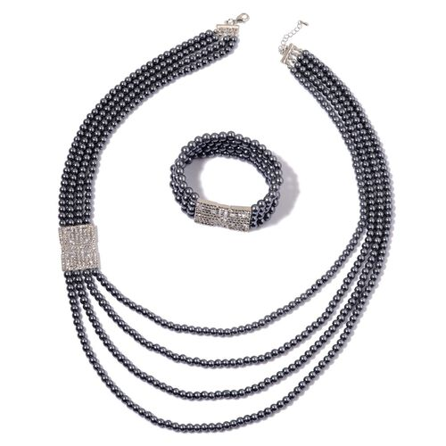 White Austrian Crystal and Peacock Glass Pearl Necklace (Size 27 with 1 inch Extender) and Stretchable Bracelet (Size 7.5) in Silver Tone
