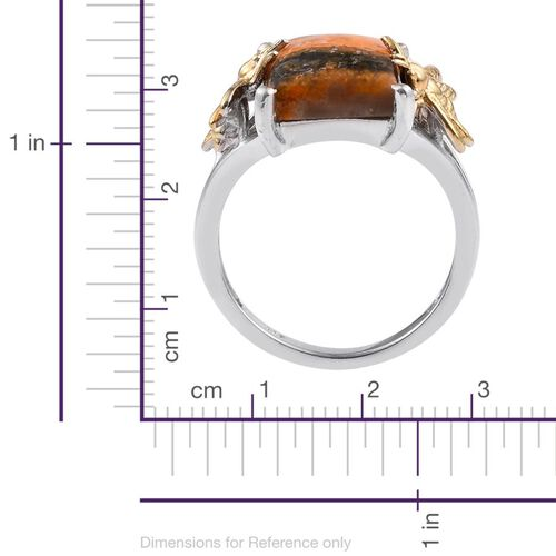 Bumble Bee Jasper (Bgt) Solitaire Ring in Platinum and Yellow Gold Overlay Sterling Silver 5.750 Ct.