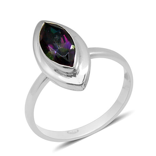 Royal Bali Collection Northern Lights Mystic Topaz (Mrq) Solitaire Ring in Sterling Silver 2.000 Ct.