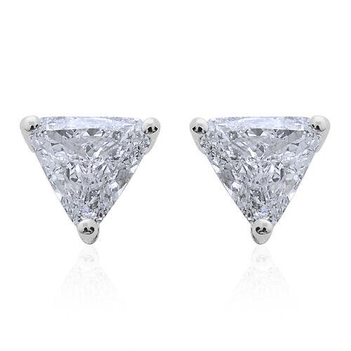 14K White Gold 0.45 Carat Diamond Trillion Solitaire Stud Earrings IGI Certified I1-I2/ G-H with Screw Back.