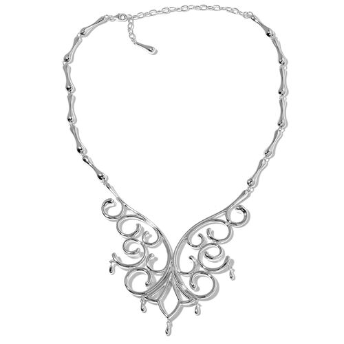 LucyQ Air Drip Necklace (16 with 4 inch Extender) in Rhodium Plated Sterling Silver 82.40 Gms.