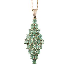 9K Y Gold Boyaca Colombian Emerald (Ovl) Cluster Pendant With Chain 3.750 Ct.
