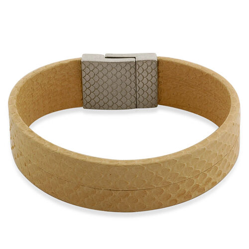 Beige Leather Bracelet (Size 7.5) in Stainless Steel