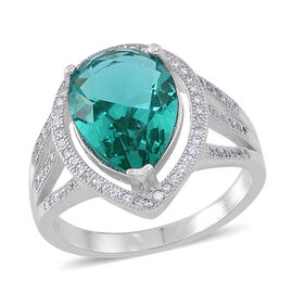 ELANZA AAA Simulated Paraiba Tourmaline (Pear), Simulated White Diamond Ring in Rhodium Plated Sterling Silver