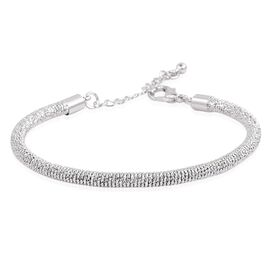 Mesh Bangle (Size 7.5 with 1 inch Extender) in Silver Tone